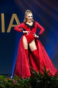 Trejsi Sejdini, Miss Albania 2018 on stage during the National Costume Show, an international tradition where contestants display an authentic costume of choice that best represents the culture of their home country, on December 10th at Nongnooch Pattaya International Convention Exhibition (NICE). The Miss Universe contestants are touring, filming, rehearsing and preparing to compete for the Miss Universe crown in Bangkok, Thailand. Tune in to the FOX telecast at 7:00 PM ET live/PT tape-delayed on Sunday, December 16, 2018 from the IMPACT Arena in Bangkok, Thailand to see who will become the next Miss Universe. HO/The Miss Universe Organization