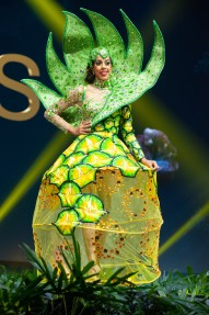 Danielle Grant, Miss Bahamas 2018 on stage during the National Costume Show, an international tradition where contestants display an authentic costume of choice that best represents the culture of their home country, on December 10th at Nongnooch Pattaya International Convention Exhibition (NICE). The Miss Universe contestants are touring, filming, rehearsing and preparing to compete for the Miss Universe crown in Bangkok, Thailand. Tune in to the FOX telecast at 7:00 PM ET live/PT tape-delayed on Sunday, December 16, 2018 from the IMPACT Arena in Bangkok, Thailand to see who will become the next Miss Universe. HO/The Miss Universe Organization