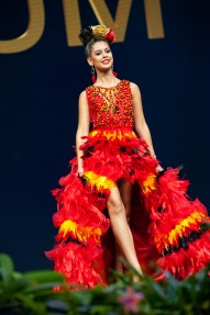 Zoë Brunet, Miss Belgium 2018 on stage during the National Costume Show, an international tradition where contestants display an authentic costume of choice that best represents the culture of their home country, on December 10th at Nongnooch Pattaya International Convention Exhibition (NICE). The Miss Universe contestants are touring, filming, rehearsing and preparing to compete for the Miss Universe crown in Bangkok, Thailand. Tune in to the FOX telecast at 7:00 PM ET live/PT tape-delayed on Sunday, December 16, 2018 from the IMPACT Arena in Bangkok, Thailand to see who will become the next Miss Universe. HO/The Miss Universe Organization