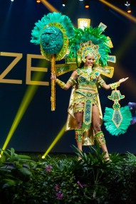 Jenelli Fraser, Miss Belize 2018 on stage during the National Costume Show, an international tradition where contestants display an authentic costume of choice that best represents the culture of their home country, on December 10th at Nongnooch Pattaya International Convention Exhibition (NICE). The Miss Universe contestants are touring, filming, rehearsing and preparing to compete for the Miss Universe crown in Bangkok, Thailand. Tune in to the FOX telecast at 7:00 PM ET live/PT tape-delayed on Sunday, December 16, 2018 from the IMPACT Arena in Bangkok, Thailand to see who will become the next Miss Universe. HO/The Miss Universe Organization