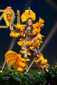 Mayra Dias, Miss Brazil 2018 on stage during the National Costume Show, an international tradition where contestants display an authentic costume of choice that best represents the culture of their home country, on December 10th at Nongnooch Pattaya International Convention Exhibition (NICE). The Miss Universe contestants are touring, filming, rehearsing and preparing to compete for the Miss Universe crown in Bangkok, Thailand. Tune in to the FOX telecast at 7:00 PM ET live/PT tape-delayed on Sunday, December 16, 2018 from the IMPACT Arena in Bangkok, Thailand to see who will become the next Miss Universe. HO/The Miss Universe Organization