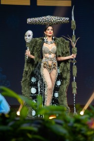Andrea Diaz, Miss Chile 2018 on stage during the National Costume Show, an international tradition where contestants display an authentic costume of choice that best represents the culture of their home country, on December 10th at Nongnooch Pattaya International Convention Exhibition (NICE). The Miss Universe contestants are touring, filming, rehearsing and preparing to compete for the Miss Universe crown in Bangkok, Thailand. Tune in to the FOX telecast at 7:00 PM ET live/PT tape-delayed on Sunday, December 16, 2018 from the IMPACT Arena in Bangkok, Thailand to see who will become the next Miss Universe. HO/The Miss Universe Organization