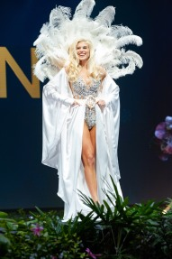 Céline Flores Willers, Miss Germany 2018 on stage during the National Costume Show, an international tradition where contestants display an authentic costume of choice that best represents the culture of their home country, on December 10th at Nongnooch Pattaya International Convention Exhibition (NICE). The Miss Universe contestants are touring, filming, rehearsing and preparing to compete for the Miss Universe crown in Bangkok, Thailand. Tune in to the FOX telecast at 7:00 PM ET live/PT tape-delayed on Sunday, December 16, 2018 from the IMPACT Arena in Bangkok, Thailand to see who will become the next Miss Universe. HO/The Miss Universe Organization