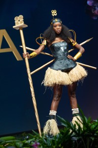 Akpene Diata Hoggar, Miss Ghana 2018 on stage during the National Costume Show, an international tradition where contestants display an authentic costume of choice that best represents the culture of their home country, on December 10th at Nongnooch Pattaya International Convention Exhibition (NICE). The Miss Universe contestants are touring, filming, rehearsing and preparing to compete for the Miss Universe crown in Bangkok, Thailand. Tune in to the FOX telecast at 7:00 PM ET live/PT tape-delayed on Sunday, December 16, 2018 from the IMPACT Arena in Bangkok, Thailand to see who will become the next Miss Universe. HO/The Miss Universe Organization