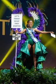 Dee-Ann Kentish-Rogers, Miss Great Britain 2018 on stage during the National Costume Show, an international tradition where contestants display an authentic costume of choice that best represents the culture of their home country, on December 10th at Nongnooch Pattaya International Convention Exhibition (NICE). The Miss Universe contestants are touring, filming, rehearsing and preparing to compete for the Miss Universe crown in Bangkok, Thailand. Tune in to the FOX telecast at 7:00 PM ET live/PT tape-delayed on Sunday, December 16, 2018 from the IMPACT Arena in Bangkok, Thailand to see who will become the next Miss Universe. HO/The Miss Universe Organization