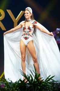 Enikő Kecskés, Miss Hungary 2018 on stage during the National Costume Show, an international tradition where contestants display an authentic costume of choice that best represents the culture of their home country, on December 10th at Nongnooch Pattaya International Convention Exhibition (NICE). The Miss Universe contestants are touring, filming, rehearsing and preparing to compete for the Miss Universe crown in Bangkok, Thailand. Tune in to the FOX telecast at 7:00 PM ET live/PT tape-delayed on Sunday, December 16, 2018 from the IMPACT Arena in Bangkok, Thailand to see who will become the next Miss Universe. HO/The Miss Universe Organization