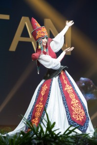 Begimay Karybekova, Miss Kyrgyzstan 2018 on stage during the National Costume Show, an international tradition where contestants display an authentic costume of choice that best represents the culture of their home country, on December 10th at Nongnooch Pattaya International Convention Exhibition (NICE). The Miss Universe contestants are touring, filming, rehearsing and preparing to compete for the Miss Universe crown in Bangkok, Thailand. Tune in to the FOX telecast at 7:00 PM ET live/PT tape-delayed on Sunday, December 16, 2018 from the IMPACT Arena in Bangkok, Thailand to see who will become the next Miss Universe. HO/The Miss Universe Organization