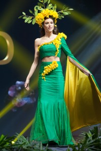 Estelle Curd, Miss New Zealand 2018 on stage during the National Costume Show, an international tradition where contestants display an authentic costume of choice that best represents the culture of their home country, on December 10th at Nongnooch Pattaya International Convention Exhibition (NICE). The Miss Universe contestants are touring, filming, rehearsing and preparing to compete for the Miss Universe crown in Bangkok, Thailand. Tune in to the FOX telecast at 7:00 PM ET live/PT tape-delayed on Sunday, December 16, 2018 from the IMPACT Arena in Bangkok, Thailand to see who will become the next Miss Universe. HO/The Miss Universe Organization