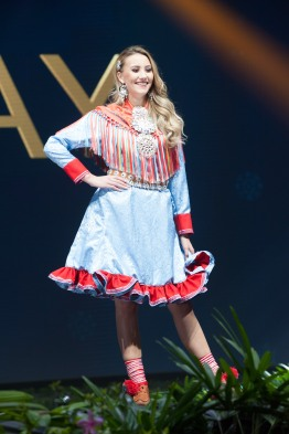 Susanne Næss Guttorm, Miss Norway 2018 on stage during the National Costume Show, an international tradition where contestants display an authentic costume of choice that best represents the culture of their home country, on December 10th at Nongnooch Pattaya International Convention Exhibition (NICE). The Miss Universe contestants are touring, filming, rehearsing and preparing to compete for the Miss Universe crown in Bangkok, Thailand. Tune in to the FOX telecast at 7:00 PM ET live/PT tape-delayed on Sunday, December 16, 2018 from the IMPACT Arena in Bangkok, Thailand to see who will become the next Miss Universe. HO/The Miss Universe Organization