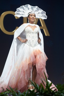 Angella Dalsou, Miss Saint Lucia 2018 on stage during the National Costume Show, an international tradition where contestants display an authentic costume of choice that best represents the culture of their home country, on December 10th at Nongnooch Pattaya International Convention Exhibition (NICE). The Miss Universe contestants are touring, filming, rehearsing and preparing to compete for the Miss Universe crown in Bangkok, Thailand. Tune in to the FOX telecast at 7:00 PM ET live/PT tape-delayed on Sunday, December 16, 2018 from the IMPACT Arena in Bangkok, Thailand to see who will become the next Miss Universe. HO/The Miss Universe Organization