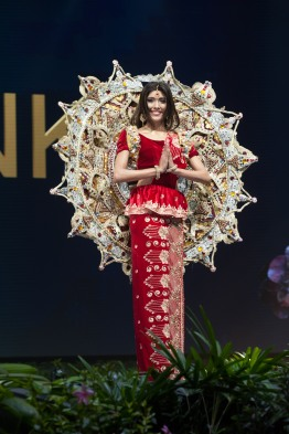 Ornella Gunesekere, Miss Sri Lanka 2018 on stage during the National Costume Show, an international tradition where contestants display an authentic costume of choice that best represents the culture of their home country, on December 10th at Nongnooch Pattaya International Convention Exhibition (NICE). The Miss Universe contestants are touring, filming, rehearsing and preparing to compete for the Miss Universe crown in Bangkok, Thailand. Tune in to the FOX telecast at 7:00 PM ET live/PT tape-delayed on Sunday, December 16, 2018 from the IMPACT Arena in Bangkok, Thailand to see who will become the next Miss Universe. HO/The Miss Universe Organization