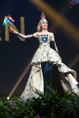 Emma Strandberg, Miss Sweden 2018 on stage during the National Costume Show, an international tradition where contestants display an authentic costume of choice that best represents the culture of their home country, on December 10th at Nongnooch Pattaya International Convention Exhibition (NICE). The Miss Universe contestants are touring, filming, rehearsing and preparing to compete for the Miss Universe crown in Bangkok, Thailand. Tune in to the FOX telecast at 7:00 PM ET live/PT tape-delayed on Sunday, December 16, 2018 from the IMPACT Arena in Bangkok, Thailand to see who will become the next Miss Universe. HO/The Miss Universe Organization