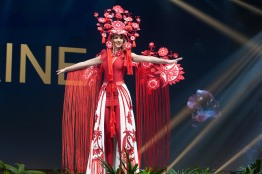 Karina Zhosan, Miss Ukraine 2018 on stage during the National Costume Show, an international tradition where contestants display an authentic costume of choice that best represents the culture of their home country, on December 10th at Nongnooch Pattaya International Convention Exhibition (NICE). The Miss Universe contestants are touring, filming, rehearsing and preparing to compete for the Miss Universe crown in Bangkok, Thailand. Tune in to the FOX telecast at 7:00 PM ET live/PT tape-delayed on Sunday, December 16, 2018 from the IMPACT Arena in Bangkok, Thailand to see who will become the next Miss Universe. HO/The Miss Universe Organization