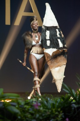 Melba Shakabozha, Miss Zambia 2018 on stage during the National Costume Show, an international tradition where contestants display an authentic costume of choice that best represents the culture of their home country, on December 10th at Nongnooch Pattaya International Convention Exhibition (NICE). The Miss Universe contestants are touring, filming, rehearsing and preparing to compete for the Miss Universe crown in Bangkok, Thailand. Tune in to the FOX telecast at 7:00 PM ET live/PT tape-delayed on Sunday, December 16, 2018 from the IMPACT Arena in Bangkok, Thailand to see who will become the next Miss Universe. HO/The Miss Universe Organization