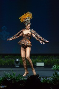Aldy Bernard, Miss Dominican Republic 2018 on stage during the National Costume Show, an international tradition where contestants display an authentic costume of choice that best represents the culture of their home country, on December 10th at Nongnooch Pattaya International Convention Exhibition (NICE). The Miss Universe contestants are touring, filming, rehearsing and preparing to compete for the Miss Universe crown in Bangkok, Thailand. Tune in to the FOX telecast at 7:00 PM ET live/PT tape-delayed on Sunday, December 16, 2018 from the IMPACT Arena in Bangkok, Thailand to see who will become the next Miss Universe. HO/The Miss Universe Organization